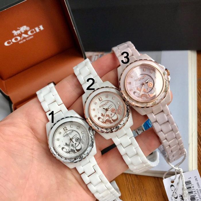 小皮美國代購 COACH 新款Preston系列女士手錶 鑽石搭配數字時標 錶盤花朵裝飾 陶瓷錶帶