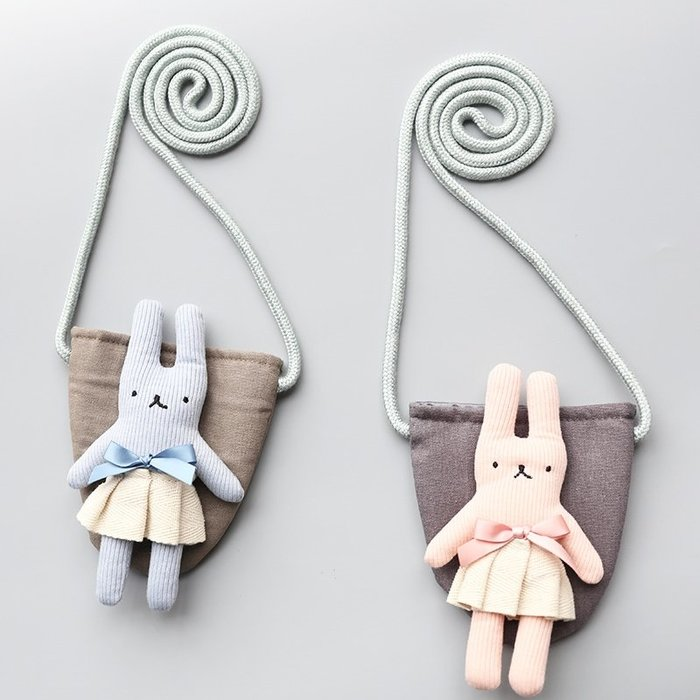【小阿霏】兒童側背包可愛超萌立體兔兔斜掛棉質包 女孩女童單肩小包零錢包紅包袋首飾包BA04