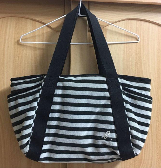 。☆二手☆。agnes.b正品絨布條紋水餃包購物包肩背包書包補習袋//原價約七千元
