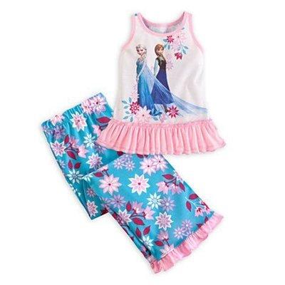 【KIDS FUN USA】迪士尼Frozen冰雪奇緣 Elsa Anna女童2件式背心褲裝/休閒服(5/6)美國原裝