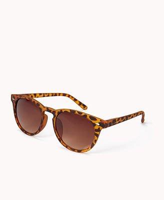 FOREVER 21_F0339 Round Frame Sunglasses 豹紋霧面圓框太陽眼鏡 //新品現貨