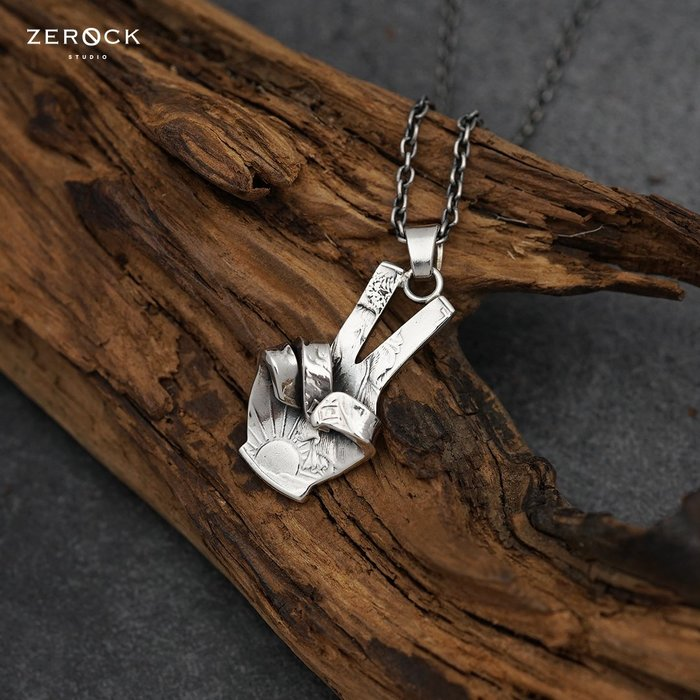 《ZEROCK》日本 NORTH WORKS 50美分 手工打造 富蘭克林 和平手勢+50公分Azuki鍊 項鍊