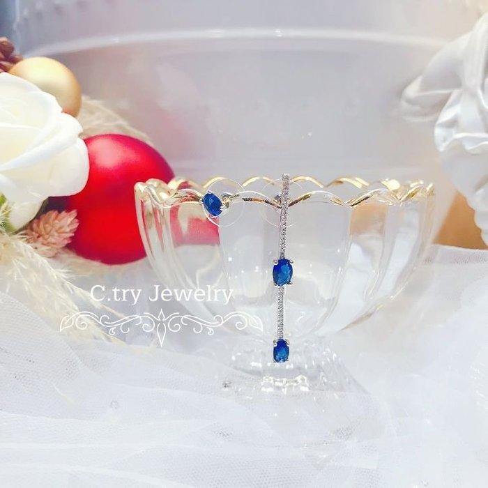 💎1197、貴族皇室藍一字俐落簡約時尚耳環💎正韓飾品 耳環 珠寶 925純銀針 EE018