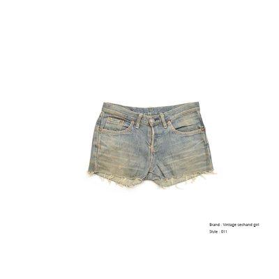 Freaky House-美國品牌EDWIN二手女著復古窄版牛仔短褲熱褲-復古藍(11)