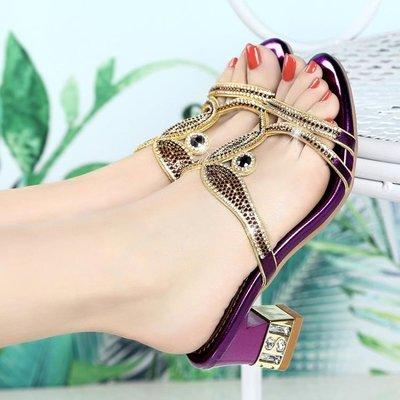 夏季高跟鞋 涼拖鞋粗跟羅馬鞋 水鑽時尚...