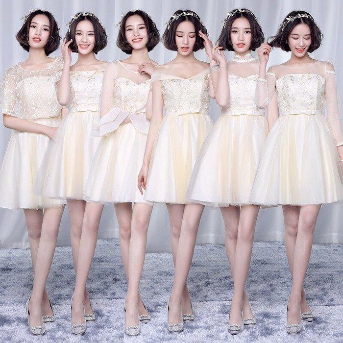 伴娘服新款2017春季香檳色短款韓式甜美顯瘦小禮服宴會生日禮服裙