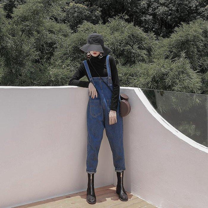 ~Linda~超火的背帶褲女春秋2018新款寬鬆韓版原宿ulzzang勾勾牛仔褲夏