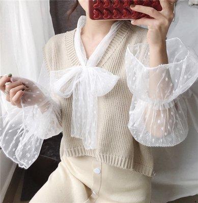 女裝上衣 內搭打底衫蕾絲打底衫女長袖內搭秋冬洋氣秋季蕾絲衫透視蝴蝶結系帶網紗上衣