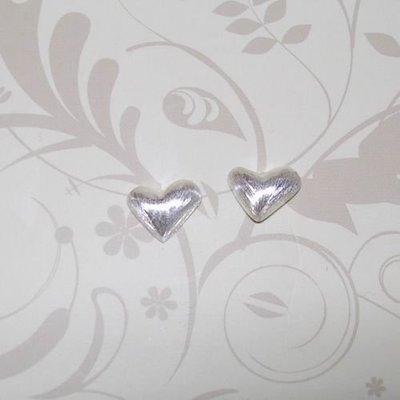 琥珀貓銀飾DIY【925純銀飾品】耳飾~耳針~N7579款~9mm絲光愛心~一對
