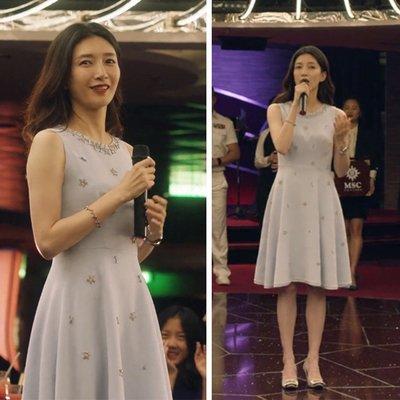 [ ohya梨花 ] =韓國帶回=最新春夏新款電視劇三十而已王漫妮同款穿搭灰色釘裝修身造型連身裙小洋裝