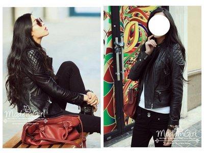 Modem Girl♥歐美原單 推薦 大牌質感 仿真皮菱格帥氣騎士翻領皮衣