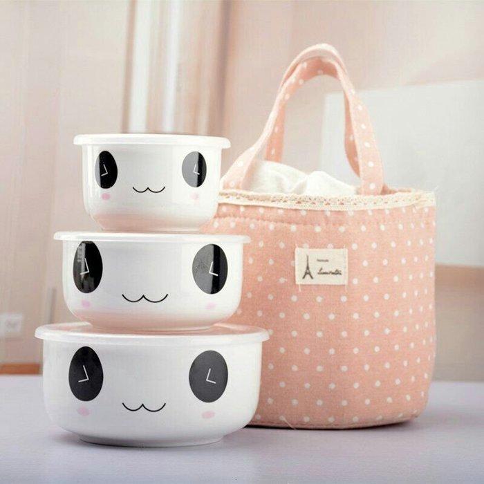 #現貨#陶瓷保鮮碗三件套保鮮盒泡面碗密封帶蓋微波爐飯盒保溫便當盒骨瓷