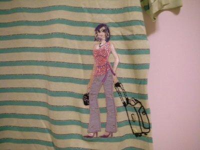 全新專櫃 FIVE PENCE 清新黃綠亮銀蔥橫紋立體浮凸時尚女郎圓領休閒女短袖細柔針織衫