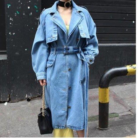 單排扣收腰繫帶外套 韓國2017 寬松顯瘦牛仔中長款外套 SZ2336