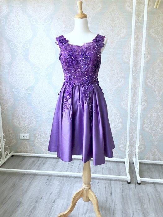 just Queen 實拍 紫色蕾絲緞面優雅小禮服 宴會 晚宴 伴娘 主尺 尾牙 派對 婚紗 新娘