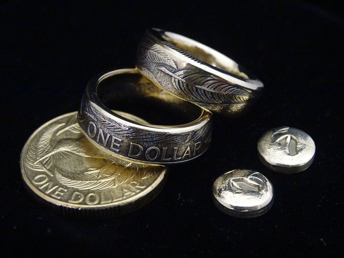 ao.circle 奢扣 紐西蘭 ONE DOLLAR 奇異鳥 浮雕 羽毛 手工戒指 澳大利亞 澳洲 錢幣 幣戒 銀幣