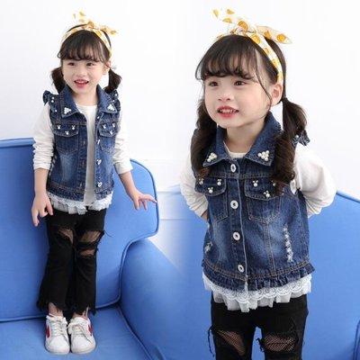 兒童寶寶牛仔馬甲女春秋1-3歲6外穿嬰兒新款公主薄款正韓女童背心Y-優思思