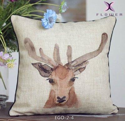 【夏法羅 傢飾】水彩麋鹿造型 棉麻鄉村 復古美克美風 沙發抱枕 靠墊 腰枕 靠枕 EGO-2-4