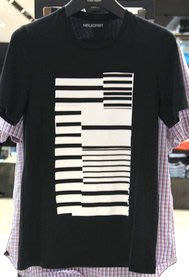 喬瑟芬【NIEL BARRETT】特價$4750含運~2012秋冬黑色100%cotton 幾何圖 棉質T恤(M~L號)