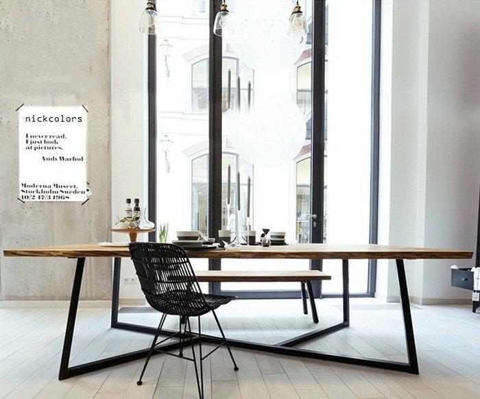尼克卡樂斯 ~工業風實木桌面餐桌 實木辦公桌 服飾店展示桌 辦公室會議桌 工業風餐廳桌 咖啡廳桌 復古餐桌