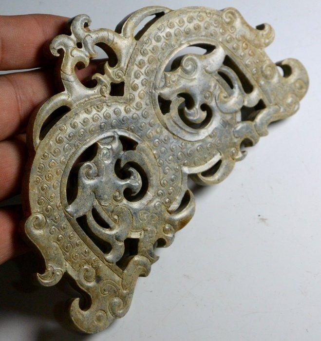 [天地居] 漢 帶沁鏤空穀紋雙龍玉飾 鈣化質變 雙面雕工