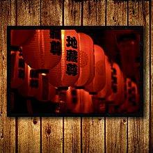 日式料理店燈籠裝飾畫日本夜景風景帶相框畫榻榻米居酒屋壁掛牆畫(9款可選)