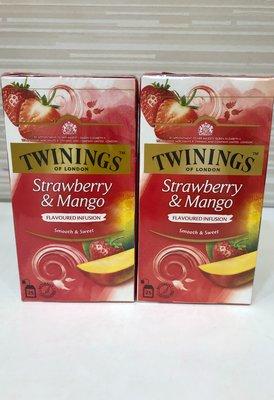 **愛洛奇**英國 TWININGS 唐寧茶 草莓芒果茶 ( 2g×25入 )