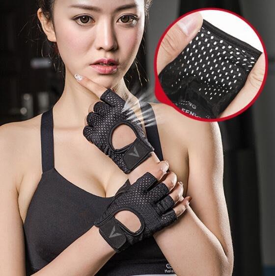 健身手套 女防滑運動手套 男女镂空半指護掌護腕器械訓練瑜伽鍛煉手套—莎芭