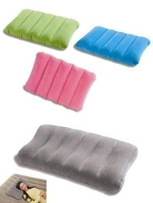 美國 多彩INTEX 成人 兒童 超輕植絨充氣枕頭 充氣坐墊 旅行 靠墊 頸枕 充氣床露營午睡午覺