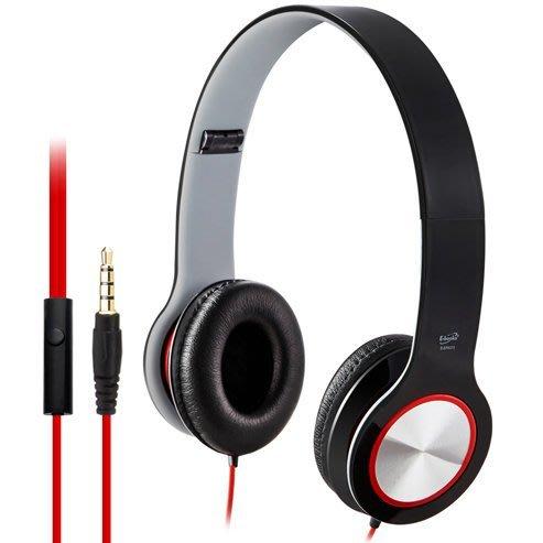 【須訂購】E-books S13智慧手機接聽鍵摺疊耳機 160°摺疊質感皮革耳罩 3.5mm鍍金立體插針-黑色