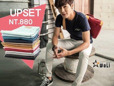 WaLi【G10042】空運進口,韓國品牌UPSET超質感高磅厚挺彈性窄管素面單寧休閒長褲,小版男裝
