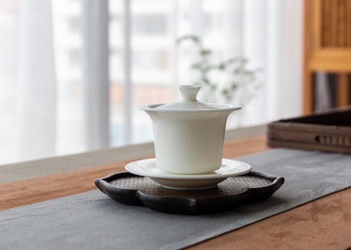 【茶嶺古道】羊脂玉瓷 三件式 青雲蓋碗 / 大 160ml 德化白 純白 白瓷 厚胚 蓋杯 茶杯 三才碗 三才杯