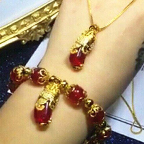 送禮佳品 沙金女士項鏈套裝微鑲鉆紅寶石貔貅墜子項鏈鍍金飾品久不掉色