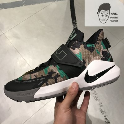 【AND.】NIKE LEBRON AMBASSADOR 12 黑色 綠色 迷彩 籃球鞋 男款 BQ5436-004