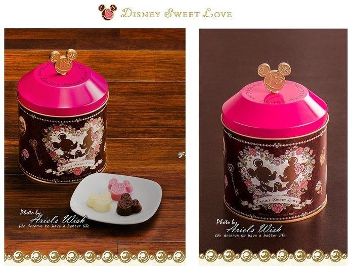 Ariel's Wish-日本東京Disney迪士尼情人節禮物情侶立體米奇頭巧克力巴洛克圓形鐵罐收納盒子空盒-附特別提袋