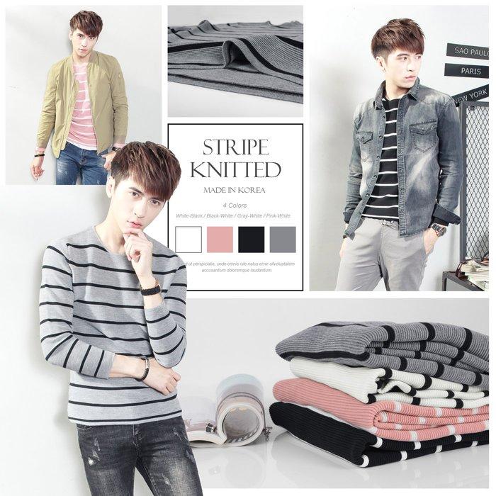 。SW。【K11335】正韓 韓國製 修身顯瘦 細緻觸感佳 防皺 質感彈性針織 立體層次橫條  圓領針織衫毛衣長T
