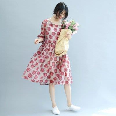 連衣 裙 五分袖 連身裙-清新甜美花朵優雅女裙裝73te8[獨家進口][米蘭精品]