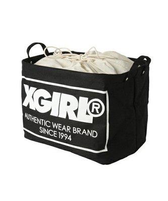 日本 X-Girl 黑色帆布 白色LOGO 大SIZE 索繩 收納箱 ($230 包順豐)
