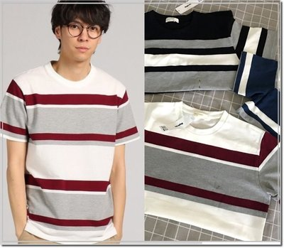 【WildLady】 男裝日本條紋簡約T恤上衣right on back number