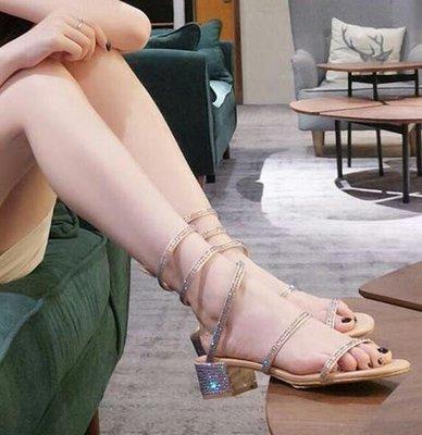 蛇形纏繞涼鞋 粗跟水鑽羅馬涼鞋 綁帶中跟學生百搭懶人鞋 33-40碼—莎芭