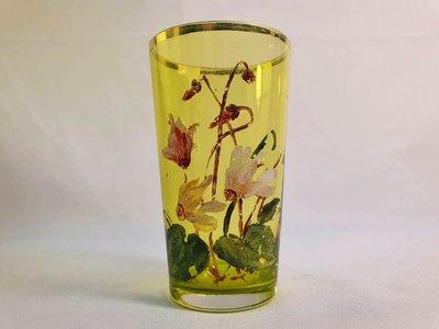 { Ruminant 慕名古物 } 摩瑟水晶MOSER手繪蓮花描金草綠色玻璃杯