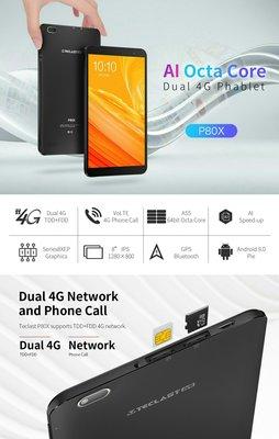 全新 高登捌伍 Taclast台電 P80X 8寸 八核 2+16GB 港中4G 全網通 android9.0 香港google play 繁中 送機套 保護貼