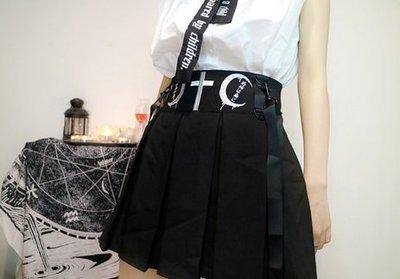 【黑店】原創設計 訂製款月亮刺繡吊帶裙 暗黑系少女個性吊帶裙 黑色吊帶裙 不撞衫百搭吊帶裙MB220