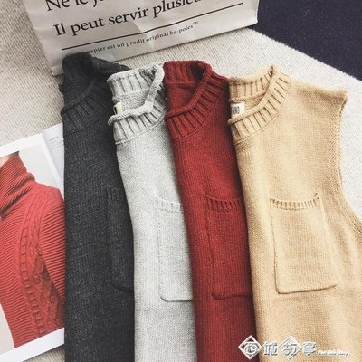 日系潮男士男女情侶裝無袖背心針織衫線衣毛衣冬季情侶保暖打底衫