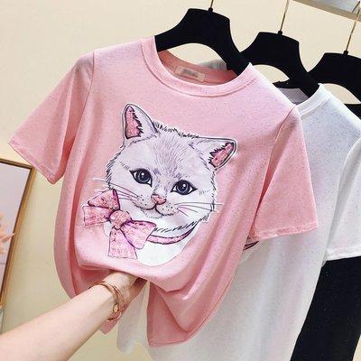 2019夏季新款韓版貓咪釘珠亮絲短袖T恤女冰絲寬鬆百搭半袖上衣服