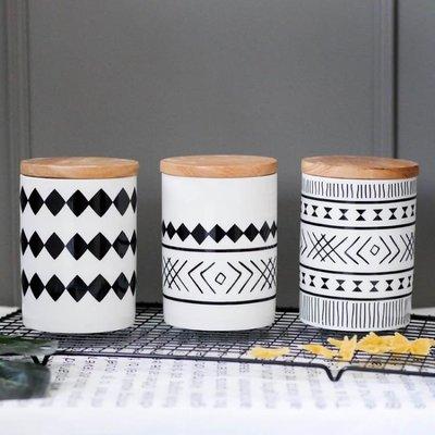 密封罐帶蓋陶瓷儲物罐收納盒咖啡花茶雜糧糖果罐子擺件