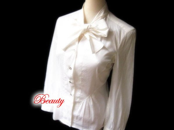 *Beauty*MaxMara SPORTMAX 白色條紋綁蝴蝶結襯衫 銀色金屬扣IR