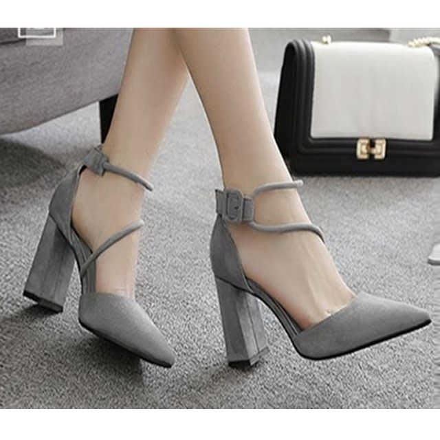 「免運」高跟鞋粗跟高跟鞋女春季新款韓版百搭女鞋黑色尖頭一字帶扣單鞋 『菲菲時尚館』