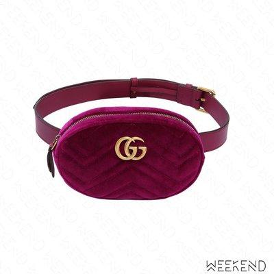 【WEEKEND】 GUCCI GG Marmont 天鵝絨 腰包 紫紅色 Melody 孫芸芸