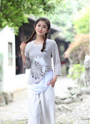 【水水女人國】~現貨XL一件,5折搶購中 一件只要350元~花靜。中國風唐裝七分袖棉麻上衣
